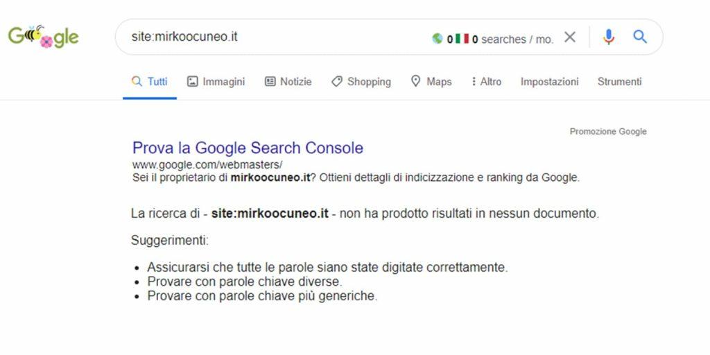 indicizzazione sito su google