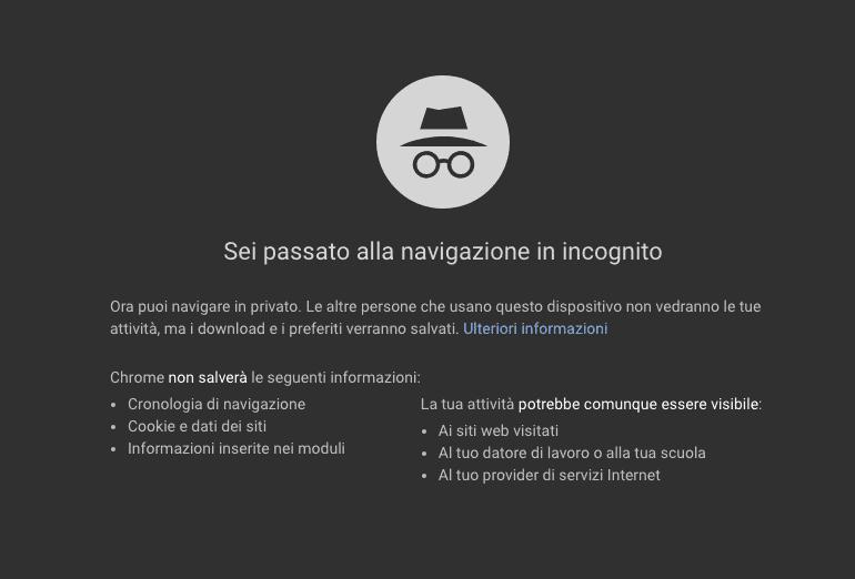 Privacy di Chrome navigazione in incognito: Google chiuderà la funzione