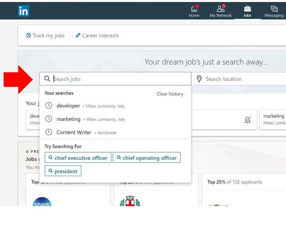 cercare lavoro su linkedin - tab lavoro