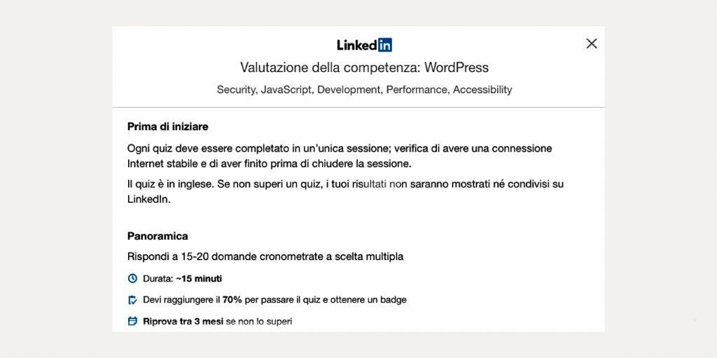 linkedin - valutazione delle competenze