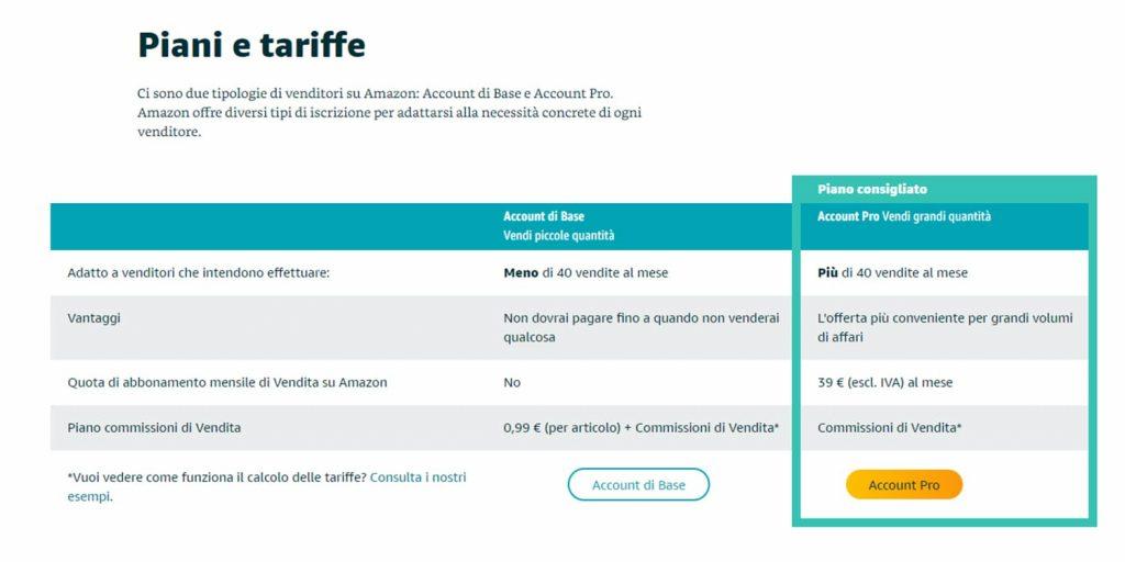vendere su amazon - account e tariffe