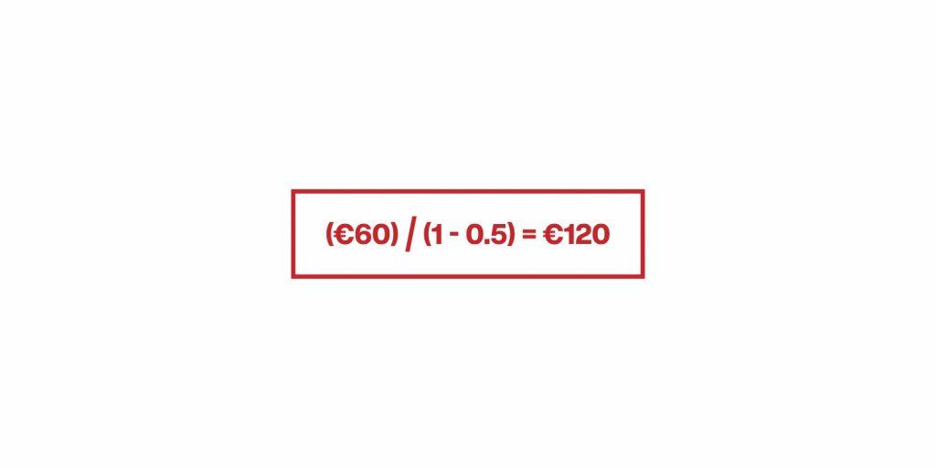 esempio della formula per determinare il prezzo di vendita di un prodotto