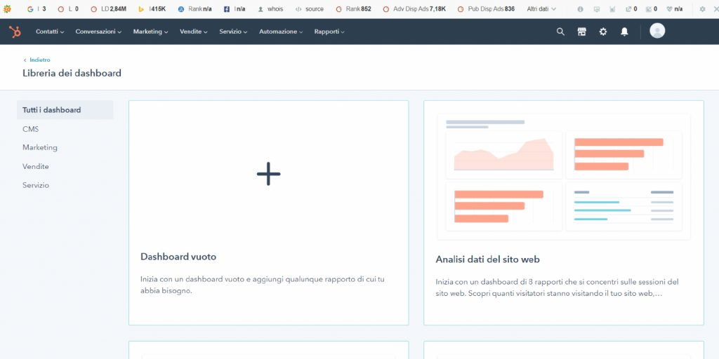 strumenti crm digital transformation esempio hubspot
